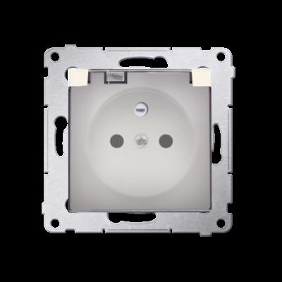 Simon 54 gniazdo wtyczkowe pojedyncze do wersji IP44 - z uszczelką do ramek Premium - klapka w kolorze transparentnym kremowy