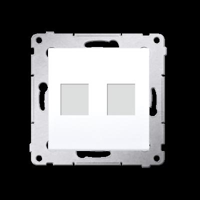 Simon 54 pokrywa gniazd teleinformatycznych na Keystone płaska podwójna biały
