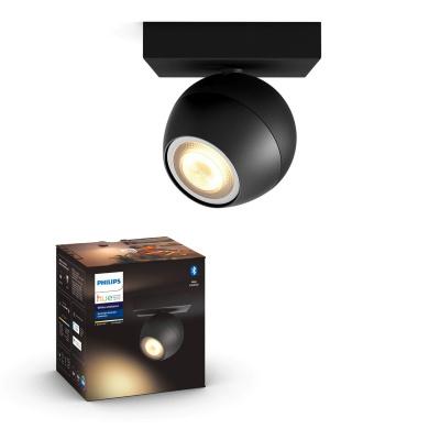 PHILIPS HUE Pojedyncze oświetlenie punktowe rozszerzające Buckram czarne, White ambiance + LED GU10