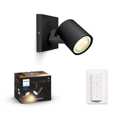 PHILIPS HUE Pojedyncze Oświetlenie punktowe Runner  czarne, White and color ambiance + LED GU10 + Regulator przyciemniania