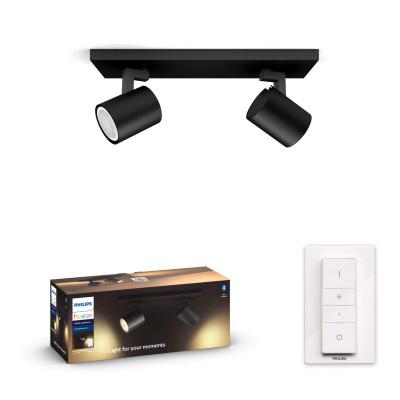 PHILIPS HUE Podwójne Oświetlenie punktowe Runner czarne, White ambiance + 2X LED GU10 + Regulator przyciemniania