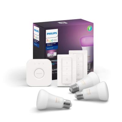 PHILIPS HUE- Zestaw startowy 3x LED BLUETOOTH WHITE AND COLOR AMBIANCE 9W E27 + Mostek + 2x Regulator przyciemniania